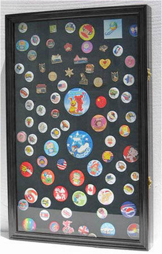 LARGE Lapel Pin Medal Patches Ribbon Display Case Wall Shadow Box, PC04-BL
