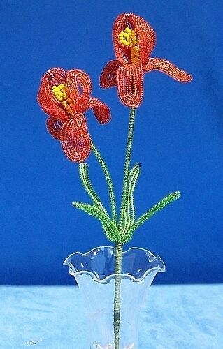 Vintage French Glass Beaded Orange Iris Flower Bouquet