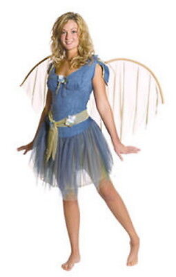 Blue Fairy Costumes (Fairy Costume Adult 5 Pc Blue Faux Suede Skirt Top Belt Slip & Wings)
