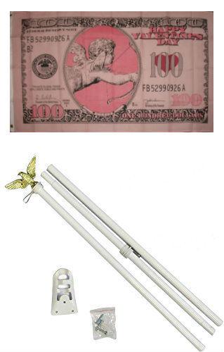3x5 Happy Valentine's Day Cupid 100$ Flag White Pole Kit Set