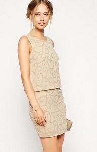 FROCK AND FRILL EMBELLISHED DROP WAIST - SCOOP BACK DRESS - SIZE 10 - NUDE/CREAM