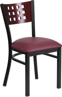 Cutout Back Metal Restaurant Chair W Mahogany Wood Back Burgundy Vinyl Seat