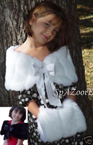 ~CHILD SIZE FUR BRIDAL WEDDING STOLE CAPELET WRAP SHRUG