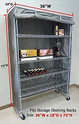 """Storage Shelving unit cover, fits racks 36""""Wx18""""Dx72""""H (Cover Only)"""