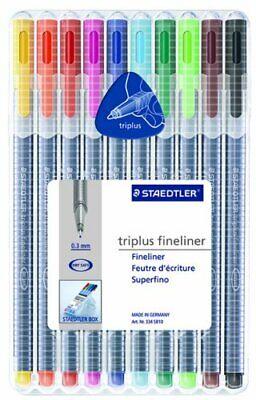 Staedtler Triplus Fineliner Pens 10 Color Pack 334sb10 Fine Liner Pen Set