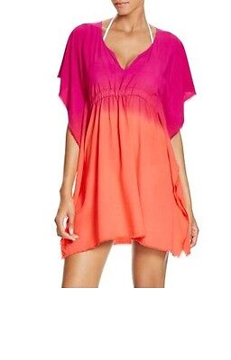 Becca Womens Swimsuit - Becca Swimsuit Coverup XS Small Tunic Pink Orange Ombre V Neck Tie Waist Womens