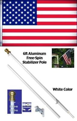 NEW 3'x5' US AMERICAN FLAG Polyester w/ 6' Aluminum Tangle Free Spinner Pole Kit