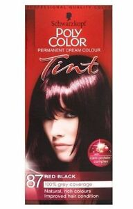 SCHWARZKOPF POLY COLOR TINT 87 RED BLACK PERMANENT CREAM COLOUR