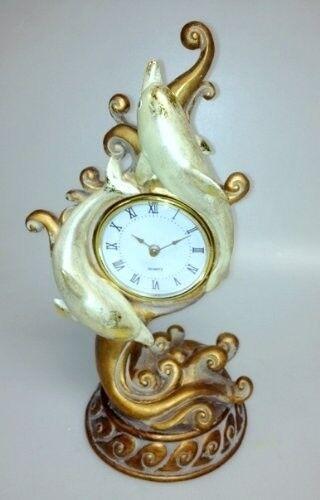 Gold Dolphin Decor Table Clock