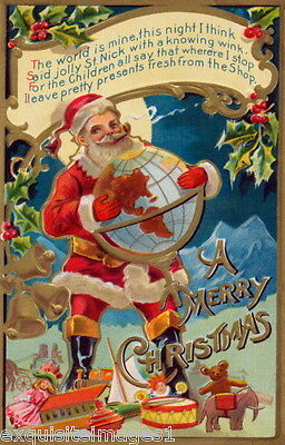 Antique Victorian Christmas Santa Claus~Globe~Elephant~Drum~Toys~NEW Note Cards