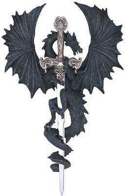 "12"" Inch Dragon Statue with Dagger Sword Wall Plaque Figurine Figure Fantasy"