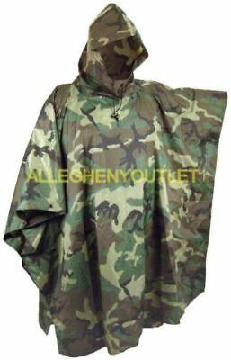 USGI Military Wet Weather Hooded Rip-Stop Rain Poncho Woodland Camo VERY GOOD