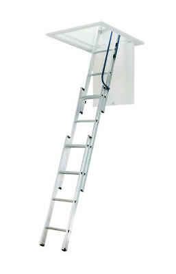 Pull Down Ladder - 7' - 9'  Aluminum Attic Ladder Type I Lightweight Compact Small Space Pull Down