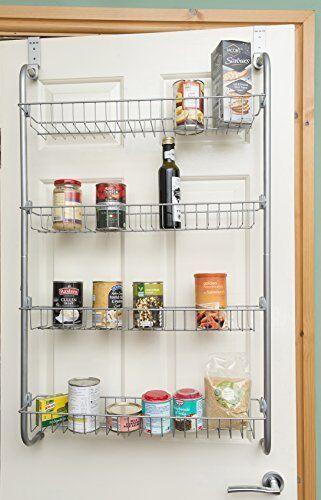 Over The Door Kitchen Cupboard & Pantry Tin Jar Spice Storage Holder Shelf Rack