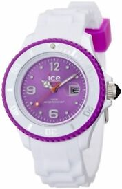 ***Ice-Watch Women's Quartz Watch with Purple Dial Analogue Display and White Silicone Strap***