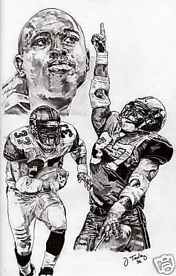 Shaun Alexander Of Seattle Seahawks Sketch Drawing Poster