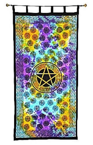 """44""""x88"""" Tie-Dyed Pentacles Curtain in 100% Cotton!"""
