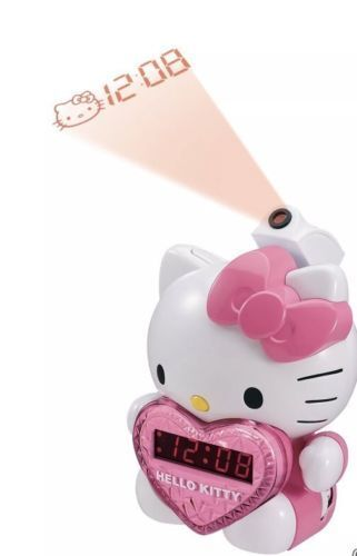 HELLO KITTY Projection To Wall-ALARM CLOCK RADIO with BATTERY BACK-UP