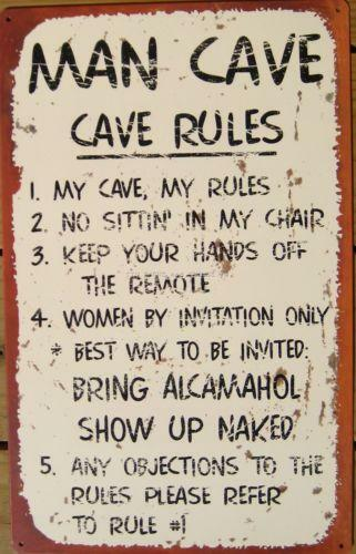 Man Cave Rules Sign Australia : Man cave rules home decor ebay