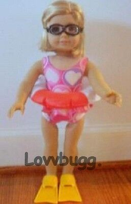 "Lovvbugg Swim Flippers for 18"" American Girl n Bitty Baby Doll Clothes Accessory"