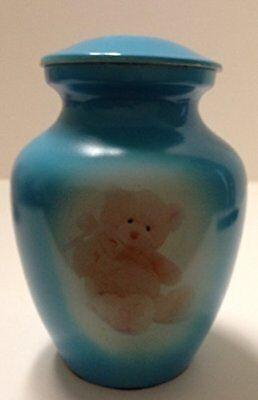 Gorgeous Light Blue teddy bear funeral cremation urn, pet or human infant urns