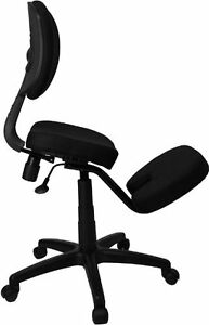 Ergonomic kneeling chair with swivel base and height adjustment