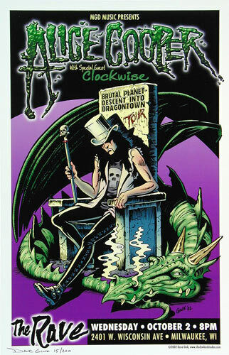 Alice Cooper Clockwise The Rave Milwaukee Poster signed numbered Brutal Planet