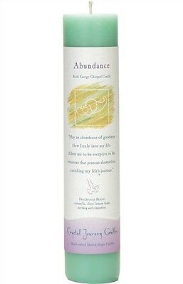 "Crystal Journey ABUNDANCE Herbal Magic Charged Reiki Pillar Candle, 7"""