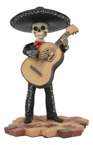 """Ebros Day Of The Dead Skeleton Wedding Mariachi Bass Player Statue 5.25""""H"""
