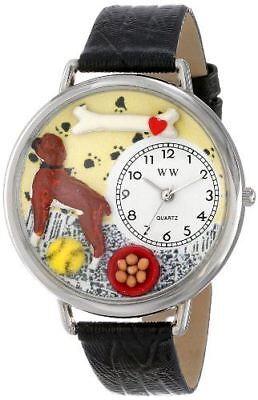 Whimsical Watches Unisex U0130014 Boxer Black Skin Leather Watch