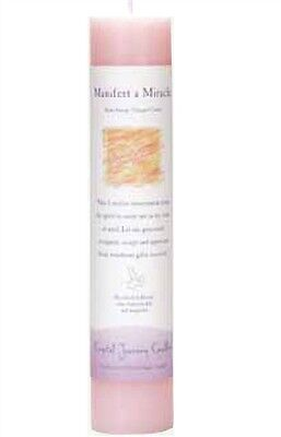 """Crystal Journey MANIFEST A MIRACLE Herbal Magic Charged Reiki Pillar Candle, 7"""""""