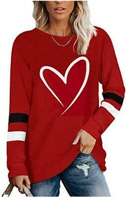 Women s Casual Loose Round Neck Long Sleeve Top, Red Line, Size Small 3qbT - $13.99