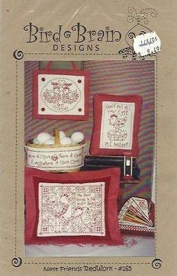 """""""Nest Friends Redwork"""" #165 Bird Brain Designs:  Red & White Chickens Pattern"""