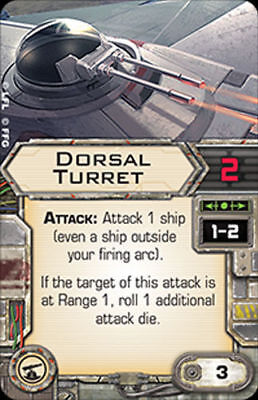 X-Wing Miniatures Dorsal Turret upgrade card, used for sale  Shipping to Canada