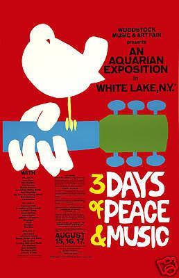 Psychedelic Rock Festival  Rock: Woodstock Concert Poster 1969 12x18