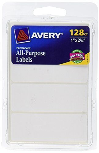 Avery All-Purpose Labels, 1 x 2.75 Inches, White