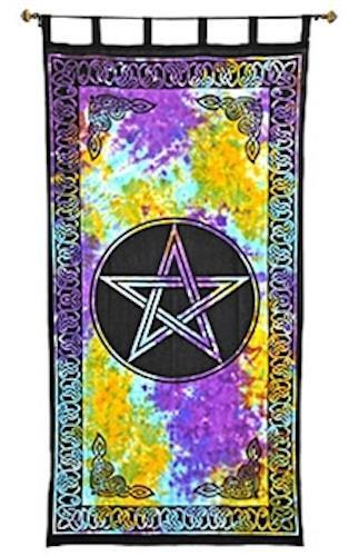 "44""x88"" Tie-Dyed Pentagram Curtain in 100% Cotton!"
