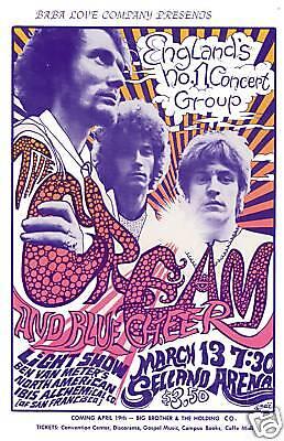 Power Trio: Eric Clapton & Cream at  Selland Arena in Fresno Concert Poster 1968