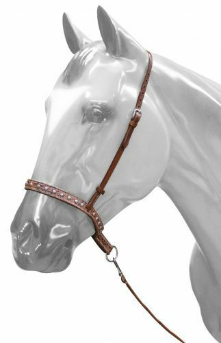 Western Horse Brown Leather Nose Band with Tie Down Barrel Racing Gymkhana Ranch