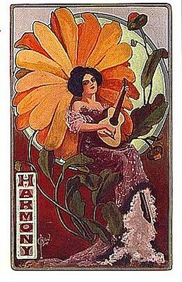 Harmony Fairy Guitar Flower Repro Postcard Ryan Circa 1912 Gold Foil Accents