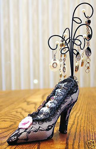 Fanciful black and pink Lacy Shoe Jewelry Display
