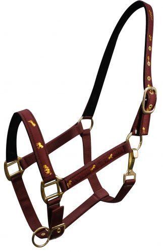 BLACK COBB Size 2 Ply Nylon Halter w// Running Horse Overlay! NEW HORSE TACK!!