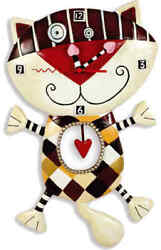Allen Designs Heart of Checkers Clock New/Boxed Wall Cat with Pendulum