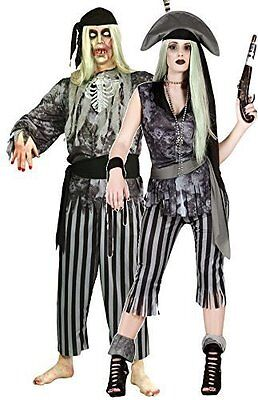Couples Ladies AND Mens Grey Ghost Pirate Halloween Fancy Dress Costumes - Couples Pirate Costume