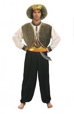 Prince Of Persia Costume (MENS PRINCE OF PERSIA BLACK GOLD ARAB ALIBABA SULTAN MAN COSTUME OUTFIT NEW)