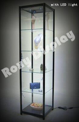 Full Vision Tower Showcase Display Store Fixture With Led Lights Sc-tw20bk