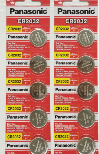 10 PANASONIC CR2032 2032 3V Lithium Coin Battery Expiration date 2030