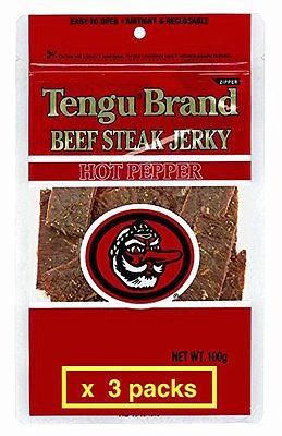Tengu brand beef jerky Hot Pepper 100g x 3packs JAPAN