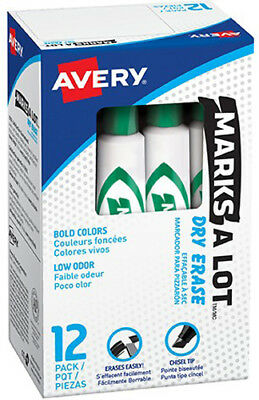Avery Marks-A-Lot Dry Erase Markers Bold Chisel Tip 12 Pack Green