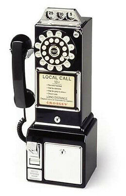 1950's Old Fashioned Rotary Classic Black Dial Pay Phone Vintage Phone Booth